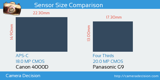 Canon 4000D vs Panasonic G9 Sensor Size Comparison