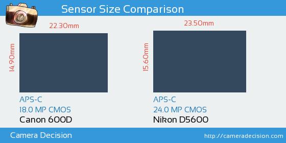 Canon 600D vs Nikon D5600 Sensor Size Comparison