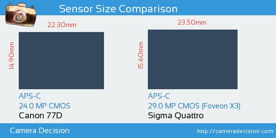 Canon 77D vs Sigma Quattro Sensor Size Comparison