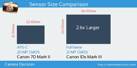 Canon 7D MII vs Canon 1Ds MIII Sensor Size Comparison
