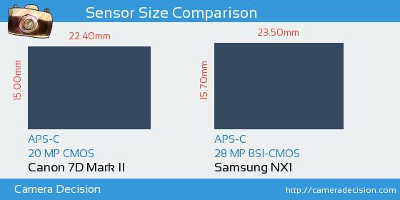 Canon 7D MII vs Samsung NX1 Sensor Size Comparison