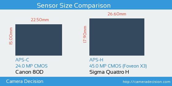 Canon 80D vs Sigma Quattro H Sensor Size Comparison