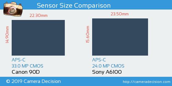 Canon 90D vs Sony A6100 Sensor Size Comparison