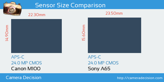 Canon M100 vs Sony A65 Sensor Size Comparison