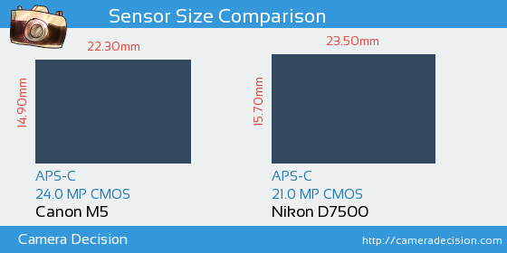 Canon M5 vs Nikon D7500 Sensor Size Comparison