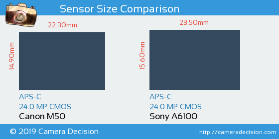 Canon M50 vs Sony A6100 Sensor Size Comparison