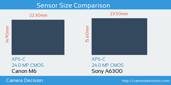 Canon M6 vs Sony A6300 Sensor Size Comparison