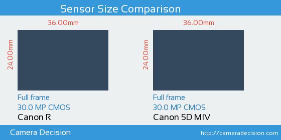 Canon R vs Canon 5D MIV Sensor Size Comparison