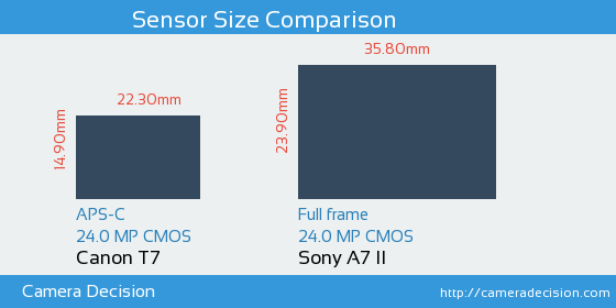 Canon T7 vs Sony A7 II Sensor Size Comparison