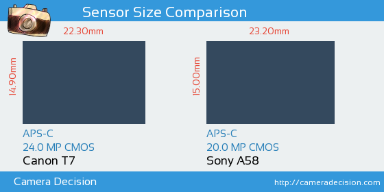 Canon T7 vs Sony A58 Sensor Size Comparison