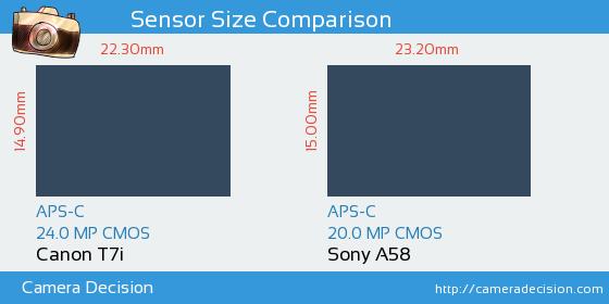 Canon T7i vs Sony A58 Sensor Size Comparison