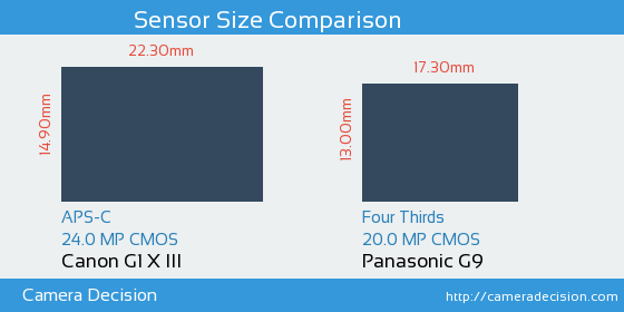 Canon G1 X III vs Panasonic G9 Sensor Size Comparison