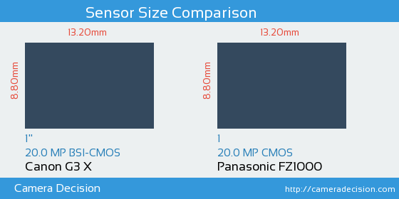Canon G3 X vs Panasonic FZ1000 Sensor Size Comparison