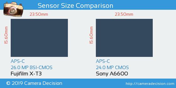 Fujifilm X-T3 vs Sony A6600 Sensor Size Comparison