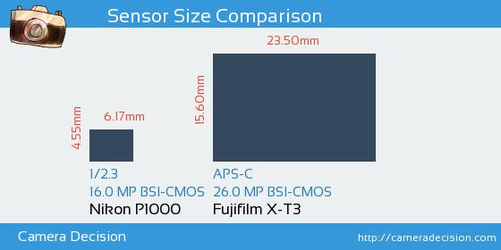 Nikon P1000 vs Fujifilm X-T3 Sensor Size Comparison