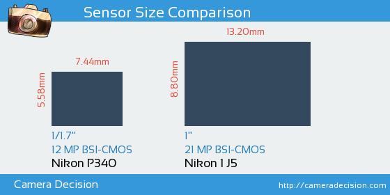 Nikon P340 vs Nikon 1 J5 Sensor Size Comparison