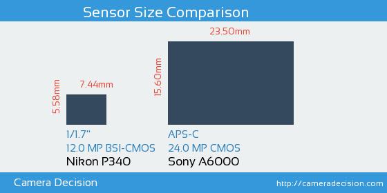 Nikon P340 vs Sony A6000 Sensor Size Comparison