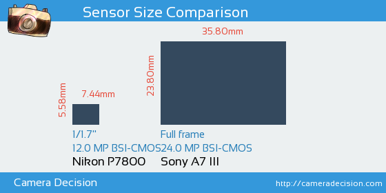Nikon P7800 vs Sony A7 III Sensor Size Comparison