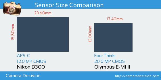 Nikon D300 vs Olympus E-M1 II Sensor Size Comparison
