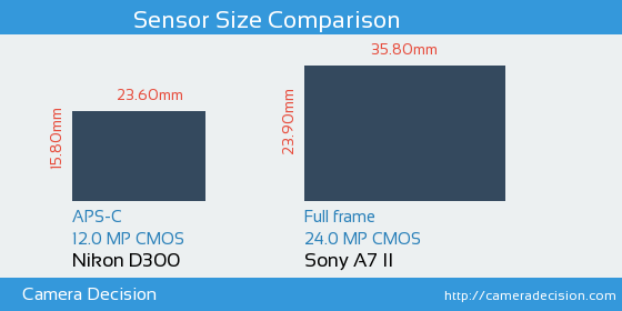 Nikon D300 vs Sony A7 II Sensor Size Comparison