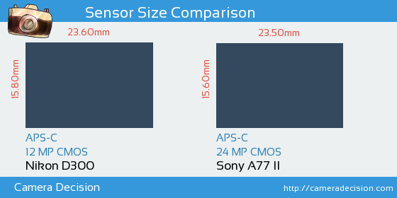 Nikon D300 vs Sony A77 II Sensor Size Comparison
