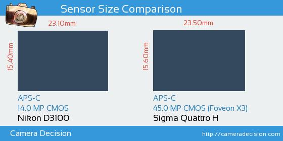 Nikon D3100 vs Sigma Quattro H Sensor Size Comparison
