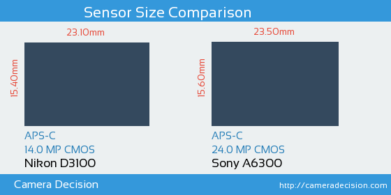 Nikon D3100 vs Sony A6300 Sensor Size Comparison
