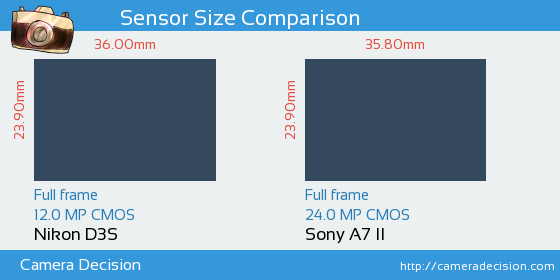 Nikon D3S vs Sony A7 II Sensor Size Comparison