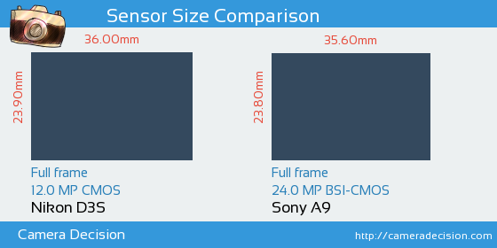 Nikon D3S vs Sony A9 Sensor Size Comparison