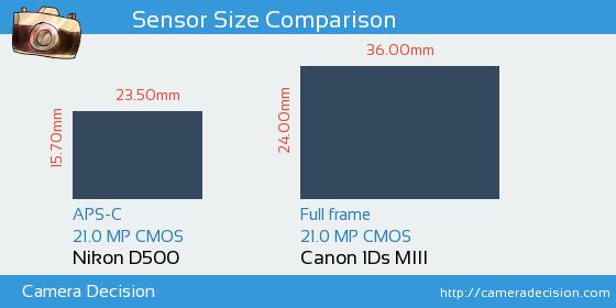 Nikon D500 vs Canon 1Ds MIII Sensor Size Comparison