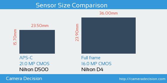 Nikon D500 vs Nikon D4 Sensor Size Comparison