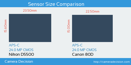 Nikon D5500 vs Canon 80D Sensor Size Comparison