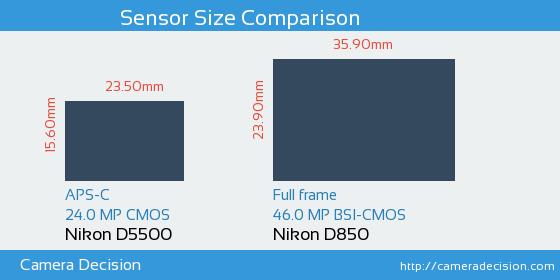 Nikon D5500 vs Nikon D850 Sensor Size Comparison