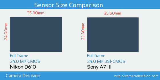 Nikon D610 vs Sony A7 III Sensor Size Comparison