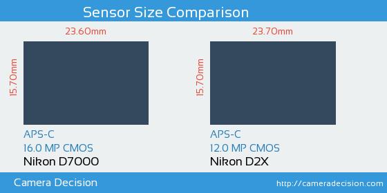 Nikon D7000 vs Nikon D2X Sensor Size Comparison