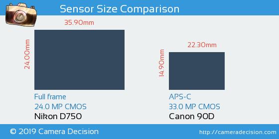 Nikon D750 vs Canon 90D Sensor Size Comparison