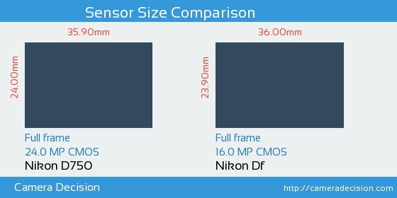 Nikon D750 vs Nikon Df Sensor Size Comparison