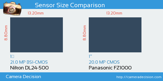 Nikon DL24-500 vs Panasonic FZ1000 Sensor Size Comparison