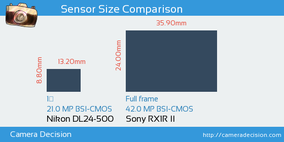 Nikon DL24-500 vs Sony RX1R II Sensor Size Comparison