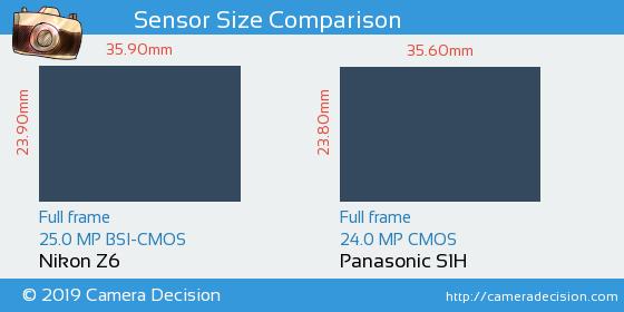 Nikon Z6 vs Panasonic S1H Sensor Size Comparison