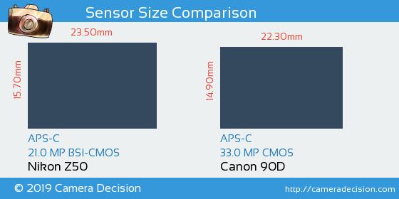 Nikon Z50 vs Canon 90D Sensor Size Comparison
