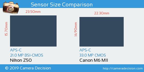 Nikon Z50 vs Canon M6 MII Sensor Size Comparison