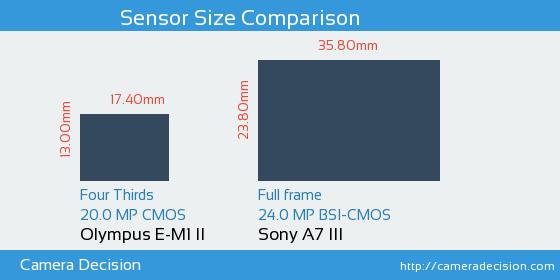 Olympus E-M1 II vs Sony A7 III Sensor Size Comparison