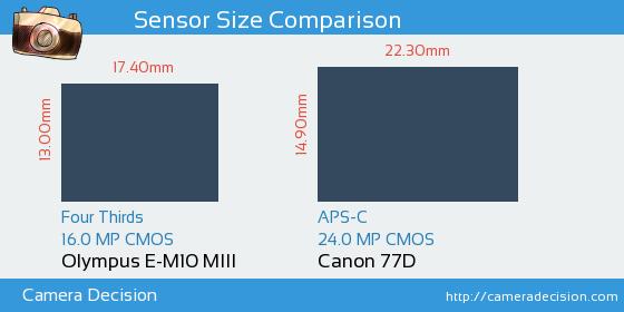 Olympus E-M10 MIII vs Canon 77D Sensor Size Comparison