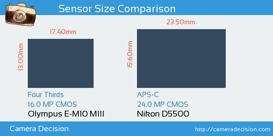 Olympus E-M10 MIII vs Nikon D5500 Sensor Size Comparison