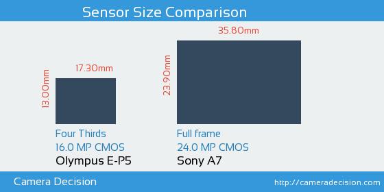 Olympus E-P5 vs Sony A7 Sensor Size Comparison