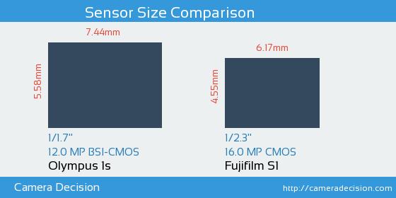 Olympus 1s vs Fujifilm S1 Sensor Size Comparison