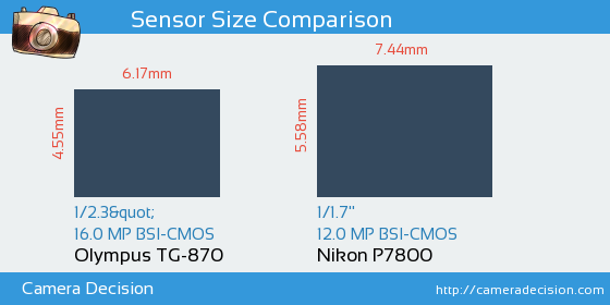 Olympus TG-870 vs Nikon P7800 Sensor Size Comparison
