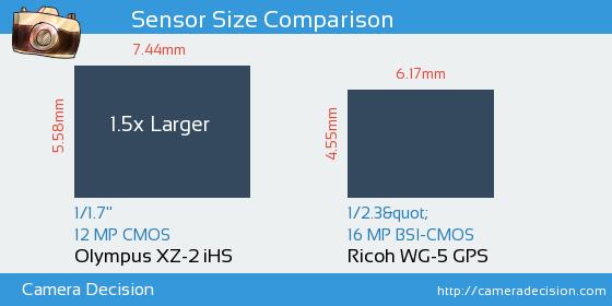Olympus XZ-2 iHS vs Ricoh WG-5 GPS Sensor Size Comparison