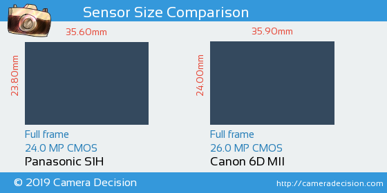 Panasonic S1H vs Canon 6D MII Sensor Size Comparison